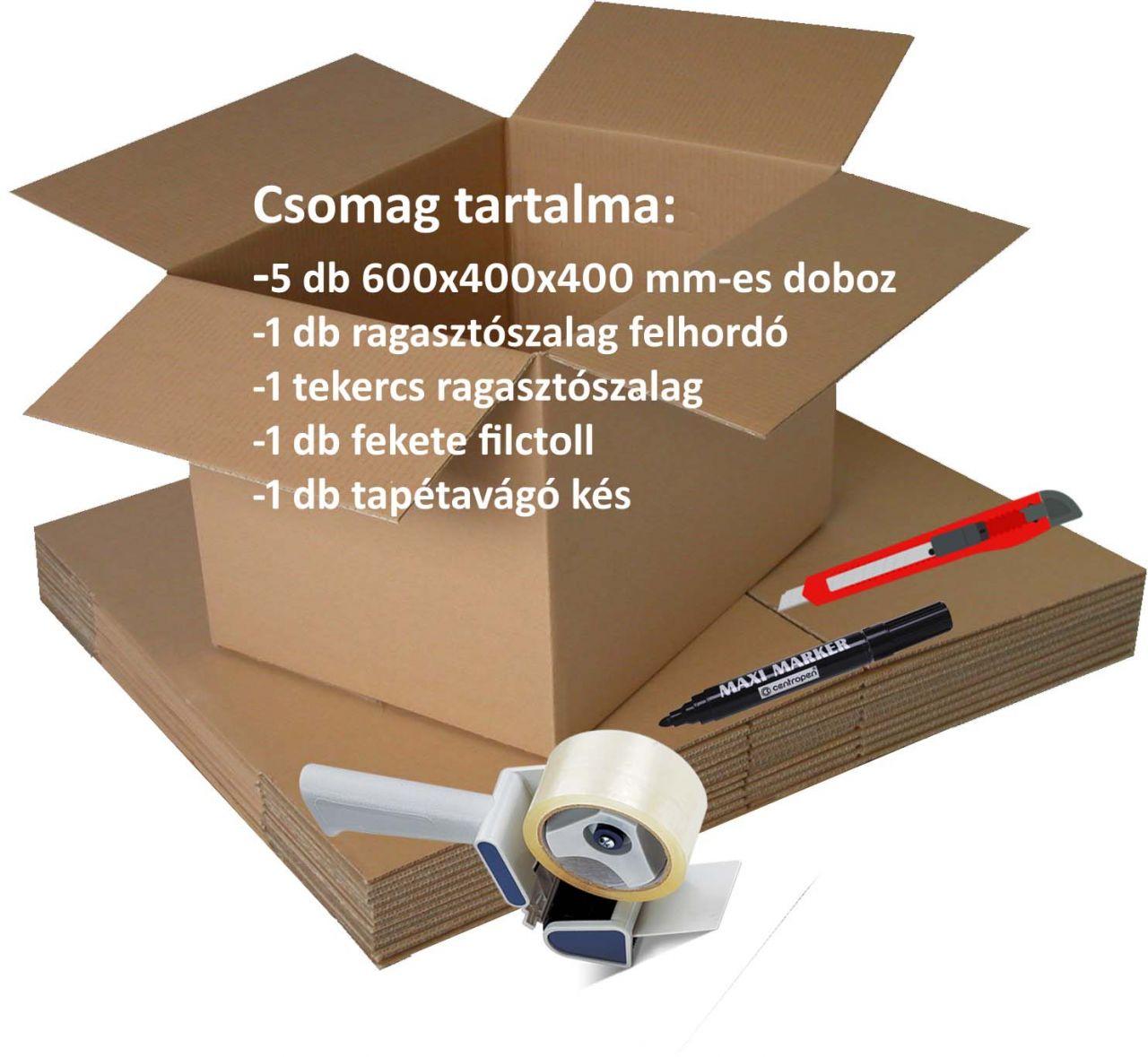 Egységcsomag költözéshez (doboz+ragasztószalag+adagoló+filctoll+tapétavágó)